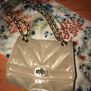 Ann Taylor gold leather bag, adjustable chain